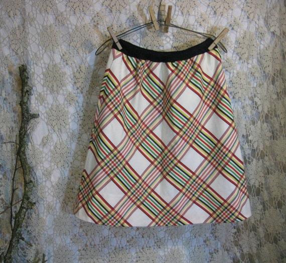 Preppy mini skirt rainbow Plaid  60s vintage S M
