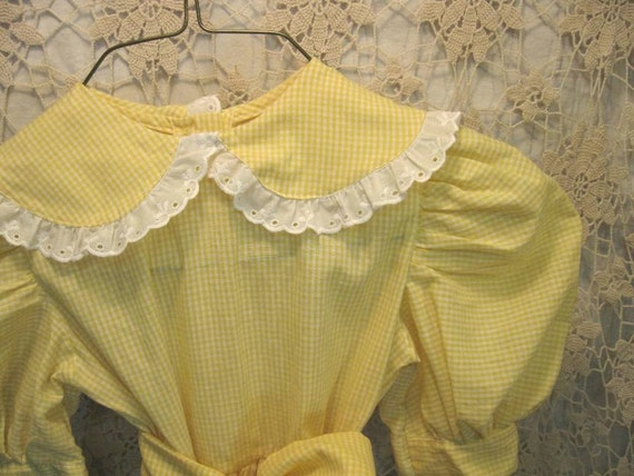 Gingham childrens vintage Dress Kids dress in Sunny Yellow