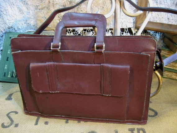 Leather  Satchel Tote Bag  Vintage 1970s Wine  book bag