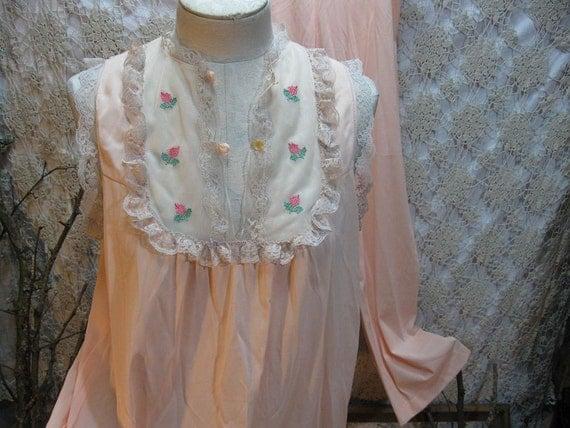 Babydoll vintage Pajama Set  Peach Vintage Silky nylon