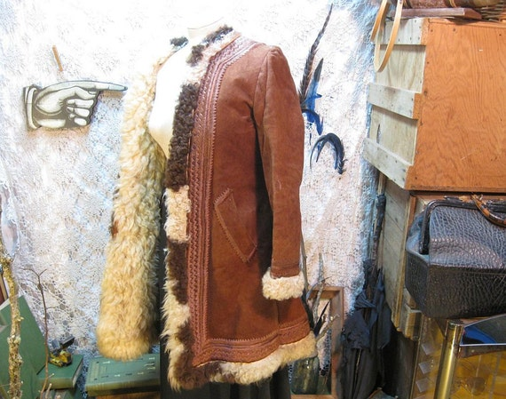 Hippie Boho Coat 60s Afghan fur suede  vintage with fluffy fur