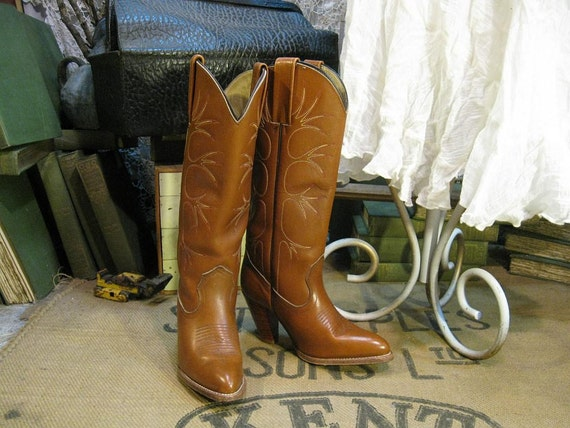 Vintage Frye Cowboy Boots tall brown 80s Cowgirl 6.5