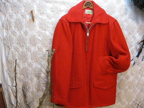 Vintage Scarlet Red Cruiser Coat Mackinaw wool Jacket Penneys M