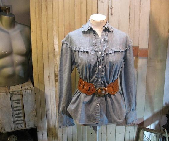 Ralph Lauren ruffled Blouse Vintage 1970s Blue Chambray