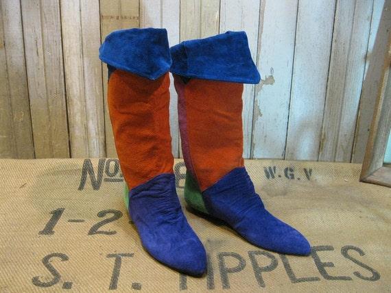 Colorblock vintage Boots Rainbow pixie suede 8.5 knee high blue orange leather