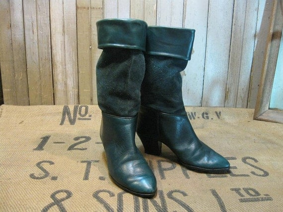 Leather Boots Green suede Vintage  1980s cuff or scrunch 7