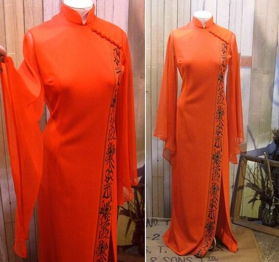 Shaheen Red Asian maxi dress Angel sleeves Vintage 1970s  Mandarin collar  M
