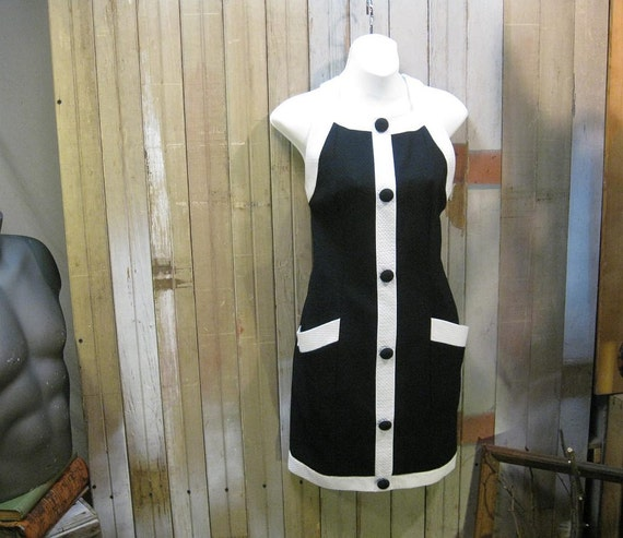 Vintage Sundress Fitted Colorblock Black and White Mini  dress M