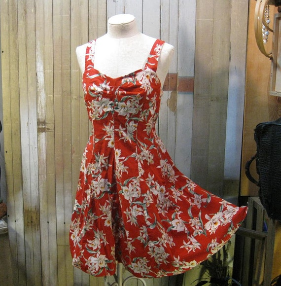 Hawaiian vintage Sundress floral Red White Orchids mini dress medium large