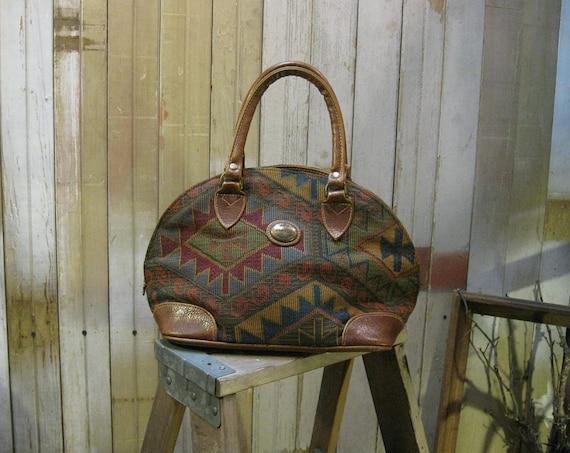 Vintage Purse Southwest Kilim handbag Tribal woven blanket doctors bag structured