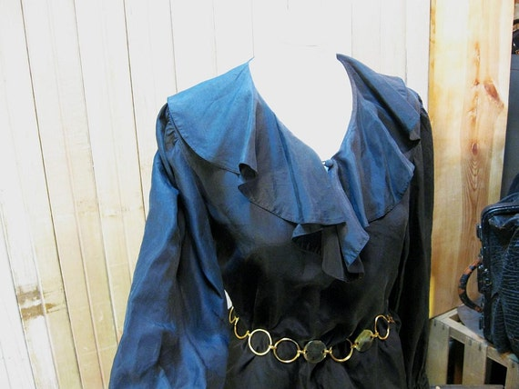 Vintage Black Silk shirt ruffle poet  pirate Blouse  M