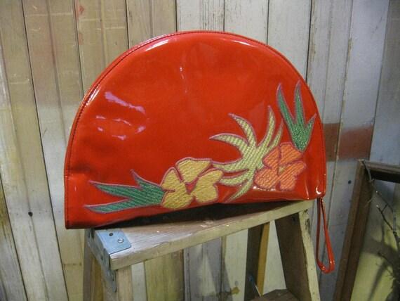 Vintage Red Clutch Wicker Applique 1970s half circle vinyl Purse