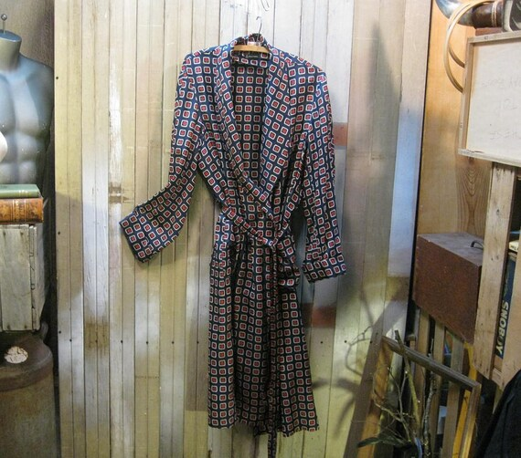 Mark Cross vintage Silk Robe  Navy foulard wrap 1940s   M L