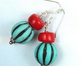 Blue Watermelon Earrings