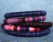 Set of 3 Soft Merino Bracelets in Hand Dyed Yarn