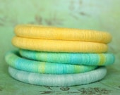 Set of 5 Soft Cotton Bracelets in Hand Dyed Yarn