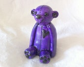 OOAK purple teddy bear figurine