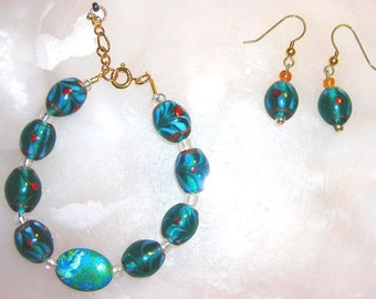 Teal, translucent hand painted glass beads & turquoise bracelet/anklet ERng set