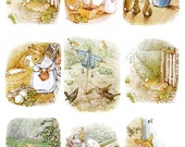 instant download of 24 Peter Rabbit images from Tale of Peter Rabbit by Beatrix Potter, digital collage sheets for paper crafts,  no. 169