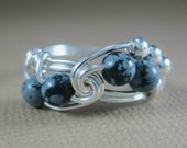 Snowflake Obsidian and Sterling Silver Fibonacci Sequence Ring
