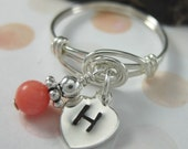 Monogrammed Sterling Silver and Coral Wire Wrapped Dangle Ring