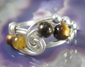 Wire Wrapped Ring Tiger's Eye and Sterling Silver Fibonacci