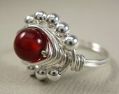 Wire Wrapped Ring Carnelian and Sterling Silver Princess