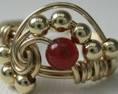 Pi -- Carnelian and 14K Gold Filled Wire Wrapped Pi Ring