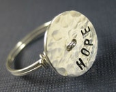 Personalized Stamped Wire Wrapped Ring Sterling Silver Button -- Hope