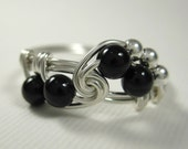 Black Onyx and Sterling Silver Fibonacci Wire Wrapped Ring