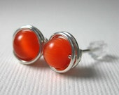 Custom Listing for Jessica -- 8mm Stud Earrings Wire Wrapped Orange Cat's Eye and Sterling Silver -- Simply Studs