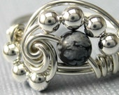Math Jewelry -- Pi -- Snowflake Obsidian Ring Wire Wrapped Sterling Silver Pi