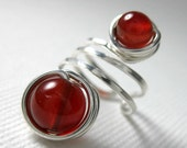 Ear Cuff Sterling Silver and Blood Red Carnelian Wire Wrapped -- Shepherd Moon -- Blood Moon