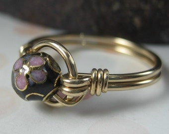 Cloisonne Ring Wire Wrapped 14K Gold Filled O Loop -- Any Size -- Many Colors