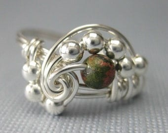 Wire Wrapped Ring Pi in Sterling Silver and Unakite