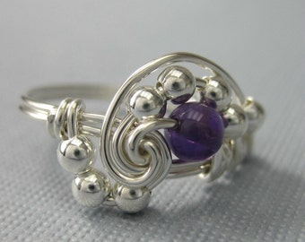 Pi -- Wire Wrapped Ring Amethyst and Sterling Silver Pi