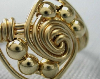 14K Gold Filled Wire Wrapped Gravitation Ring