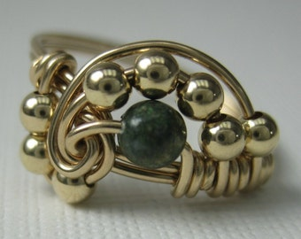 Pi -- Wire Wrapped Ring Zebra Jasper and 14K Gold Filled Pi