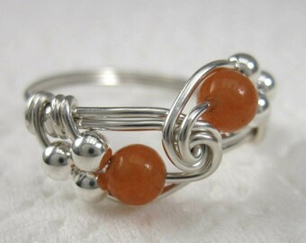 Peach Aventurine and Sterling Silver Wire Wrapped Duet Ring
