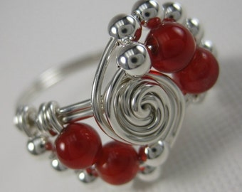 Carnelian Ring Wire Wrapped Sterling Silver Super Deluxe Gravitation