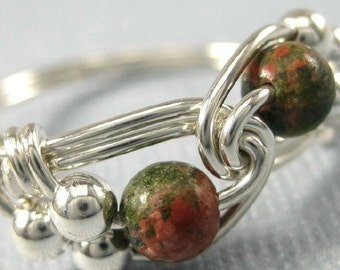 Unakite and Sterling Silver Wire Wrapped Duet Ring