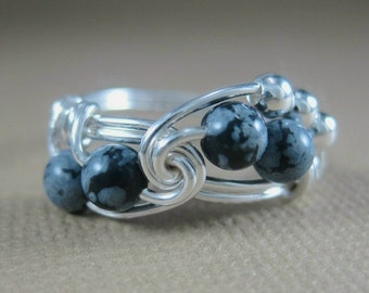 Wire Wrapped Ring Snowflake Obsidian and Sterling Silver Fibonacci
