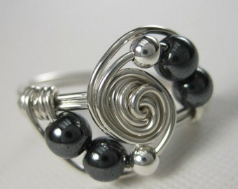 Hematite and Sterling Silver Wire Wrapped Deluxe Gravitation Ring