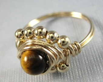 Wire Wrapped Ring 14k Gold Filled and Tiger's Eye Princess Cocktail