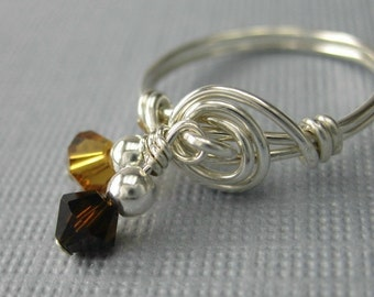 Dangle Ring Wire Wrapped Sterling Silver With Crystals -- Chocolate and Caramel Double Dangle Wire Wrapped Ring
