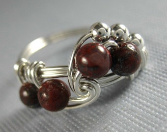 Wire Wrapped Ring Sterling Silver and Poppy Jasper Fibonacci