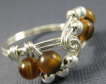 Tiger's Eye and Sterling Silver Wire Wrapped Vortex Ring