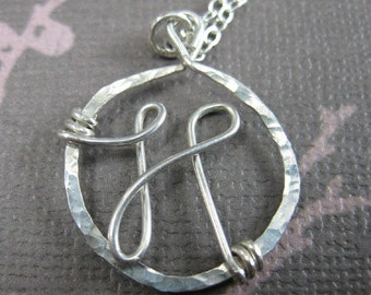 Personalized Custom Monogram Necklace Sterling Silver Wire Wrapped Jewelry