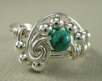 Genuine Turquoise Ring Math Ring Wire Wrapped Sterling Silver Pi Math Jewelry-- Any Size