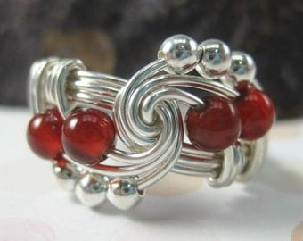 Blood Red Carnelian Ring Wire Wrapped Sterling Silver Trinity